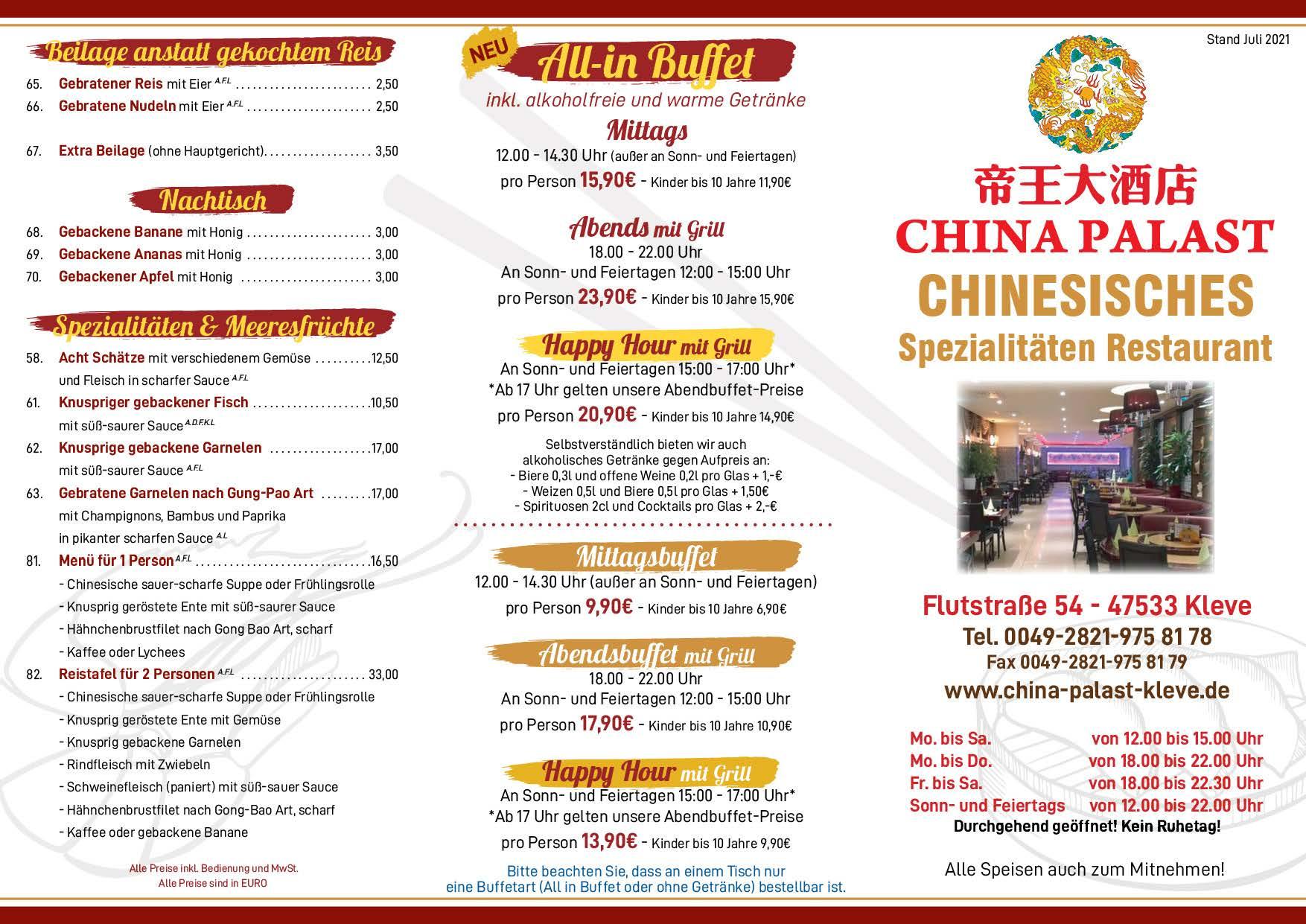 China Palast Kleve - Speisekarte - ab 08-2020 - Voderseite