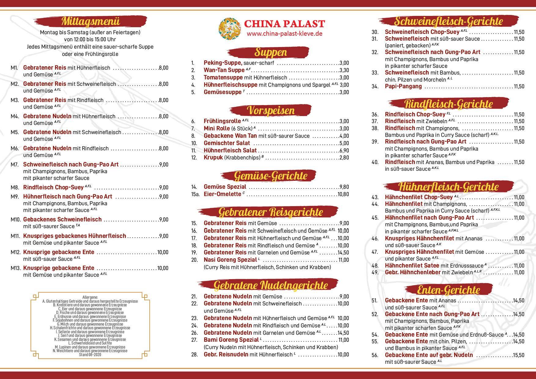 China Palast Kleve - Speisekarte - ab 08-2020 - Rückseite